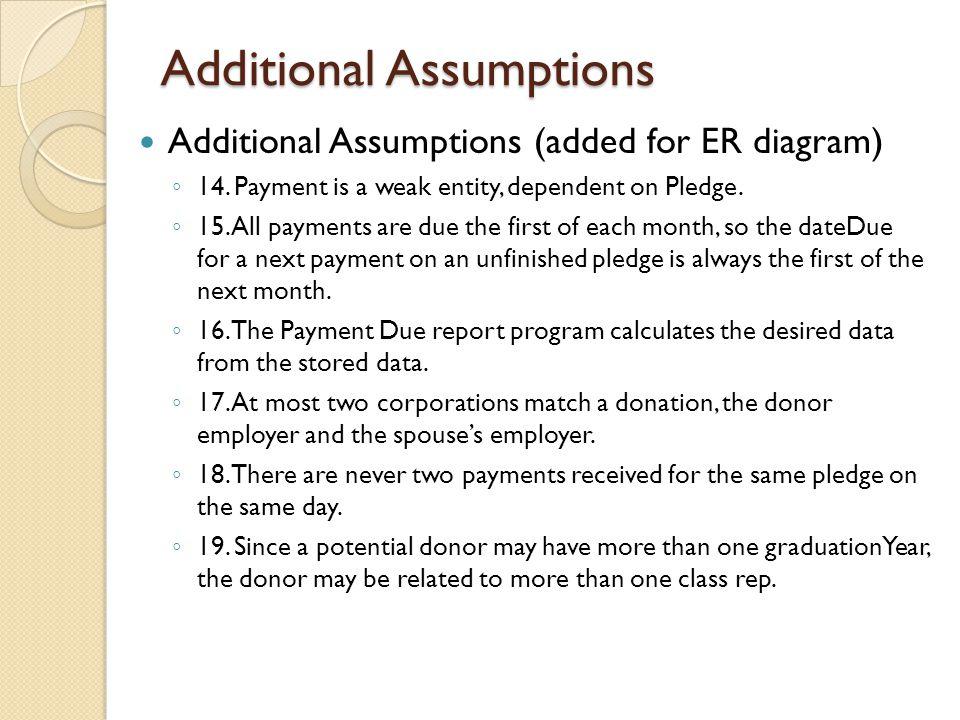 Additional Assumptions Additional Assumptions (added for ER diagram) ◦ 14.