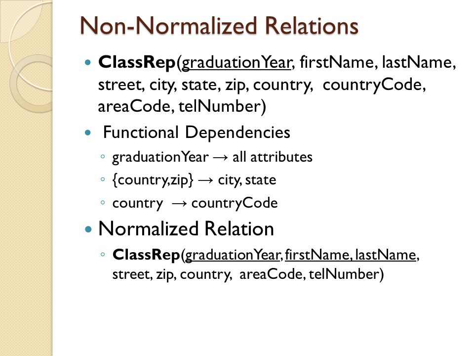 Non-Normalized Relations ClassRep(graduationYear, firstName, lastName, street, city, state, zip, country, countryCode, areaCode, telNumber) Functional Dependencies ◦ graduationYear → all attributes ◦ {country,zip} → city, state ◦ country → countryCode Normalized Relation ◦ ClassRep(graduationYear, firstName, lastName, street, zip, country, areaCode, telNumber)