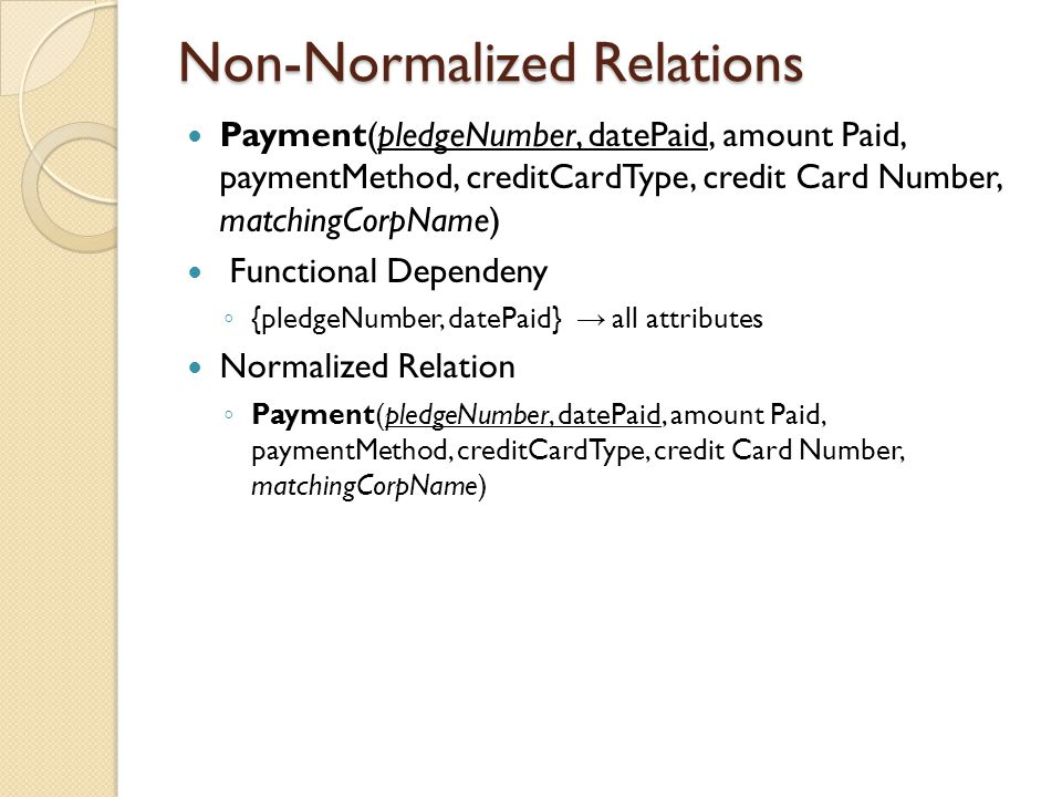 Non-Normalized Relations Payment(pledgeNumber, datePaid, amount Paid, paymentMethod, creditCardType, credit Card Number, matchingCorpName) Functional Dependeny ◦ {pledgeNumber, datePaid} → all attributes Normalized Relation ◦ Payment(pledgeNumber, datePaid, amount Paid, paymentMethod, creditCardType, credit Card Number, matchingCorpName)