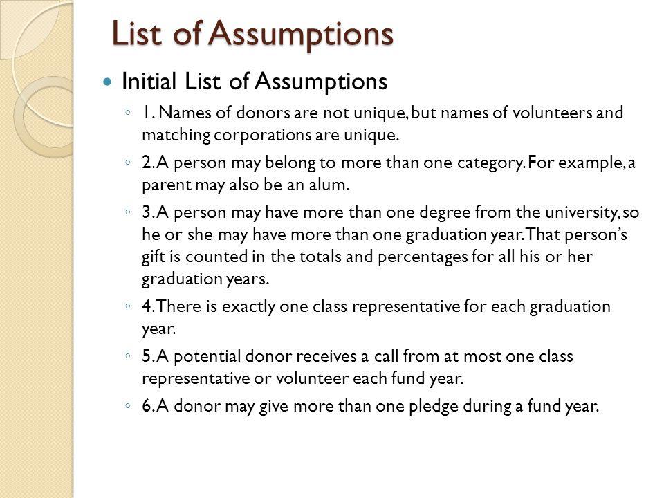 List of Assumptions Initial List of Assumptions ◦ 1.
