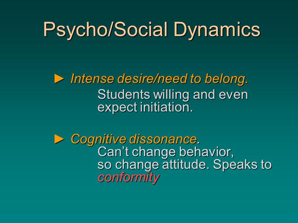 Psycho/Social Dynamics Psycho/Social Dynamics ►Intense desire/need to belong.