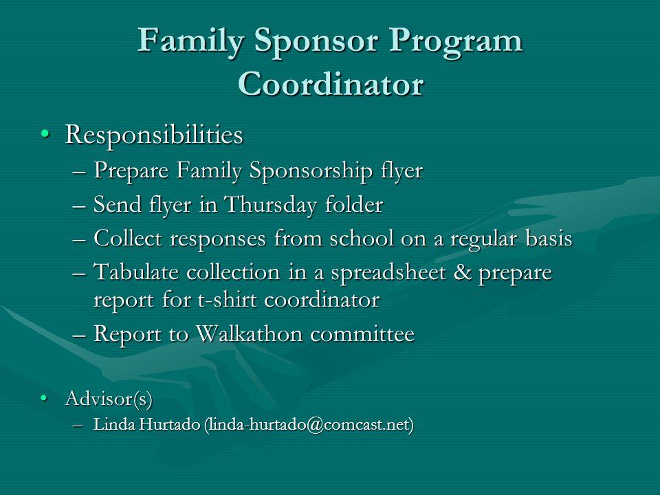 Family Sponsor Program Coordinator ResponsibilitiesResponsibilities –Prepare Family Sponsorship flyer –Send flyer in Thursday folder –Collect response