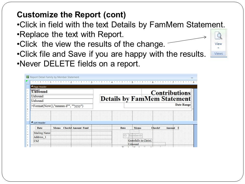 Customize the Report (cont) Click in field with the text Details by FamMem Statement.