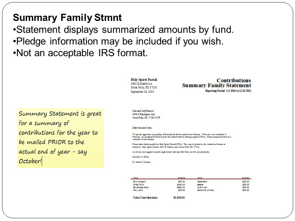 Summary Family Stmnt Statement displays summarized amounts by fund. Pledge information may be included if you wish. Not an acceptable IRS format.