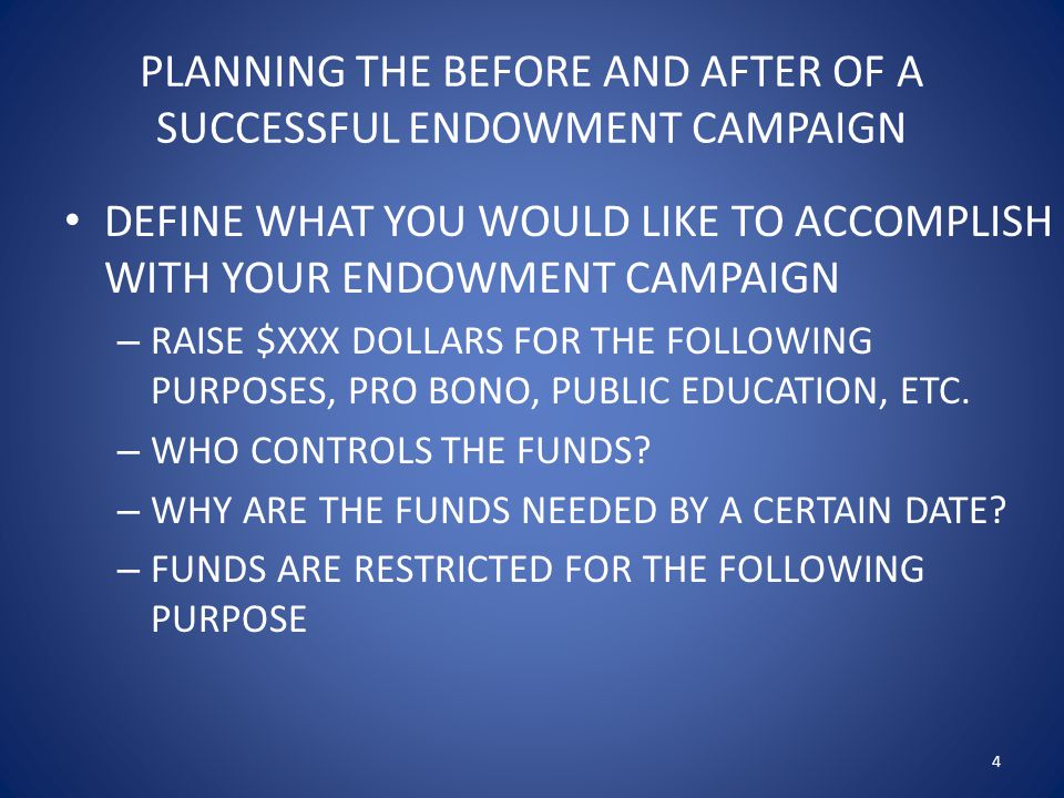 PLANNING THE BEFORE AND AFTER OF A SUCCESSFUL ENDOWMENT CAMPAIGN TEST YOUR ORGANIZATION'S ABILITY TO RUN A SUCCESSFUL CAMPAIGN – HOLD FOCUS GROUP MEETINGS WITH LEADERS AND POTENTIAL DONORS – REVIEW PREVIOUS FUNDRAISING EFFORTS – INVESTIGATE OTHER SIMILARLY SIZED ORGANIZATION'S FUNDRAISING EFFORTS TO DETERMINE FEASIBLITY TO RAISE FUNDS 5