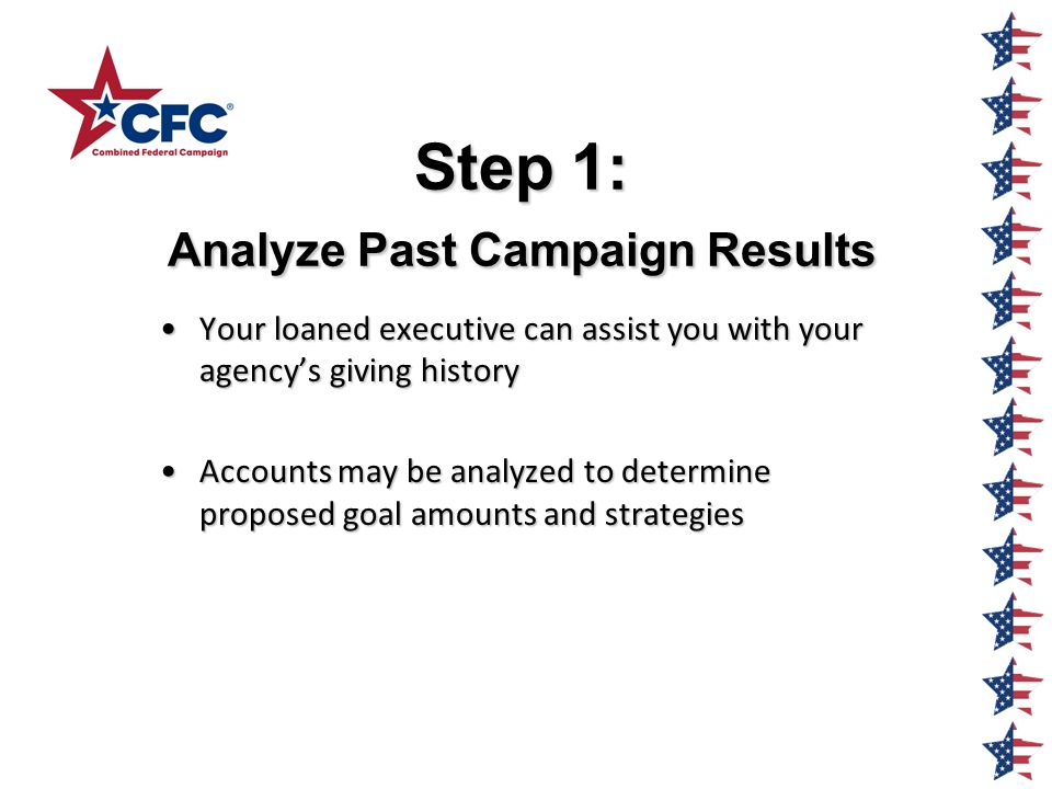 Step 1: Analyze Past Campaign Results Your loaned executive can assist you with your agency's giving historyYour loaned executive can assist you with your agency's giving history Accounts may be analyzed to determine proposed goal amounts and strategiesAccounts may be analyzed to determine proposed goal amounts and strategies