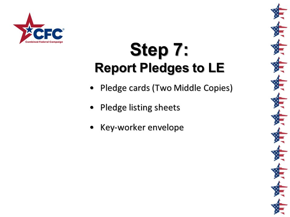 Step 7: Report Pledges to LE Pledge cards (Two Middle Copies)Pledge cards (Two Middle Copies) Pledge listing sheetsPledge listing sheets Key-worker envelopeKey-worker envelope