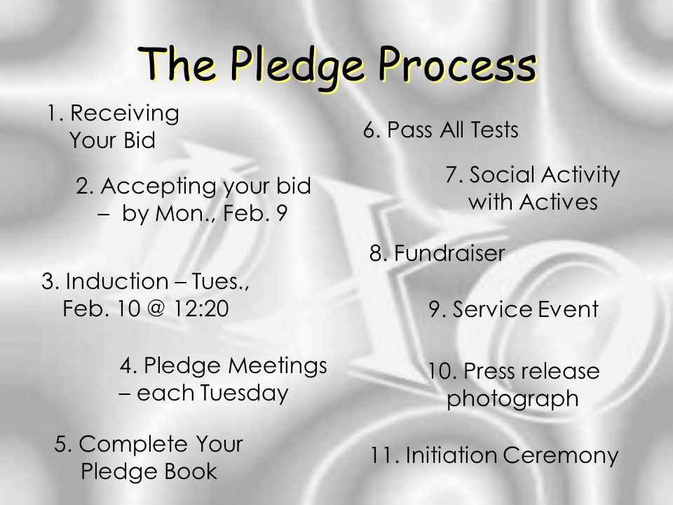 The Pledge Process 1. Receiving Your Bid 2. Accepting your bid – by Mon., Feb.