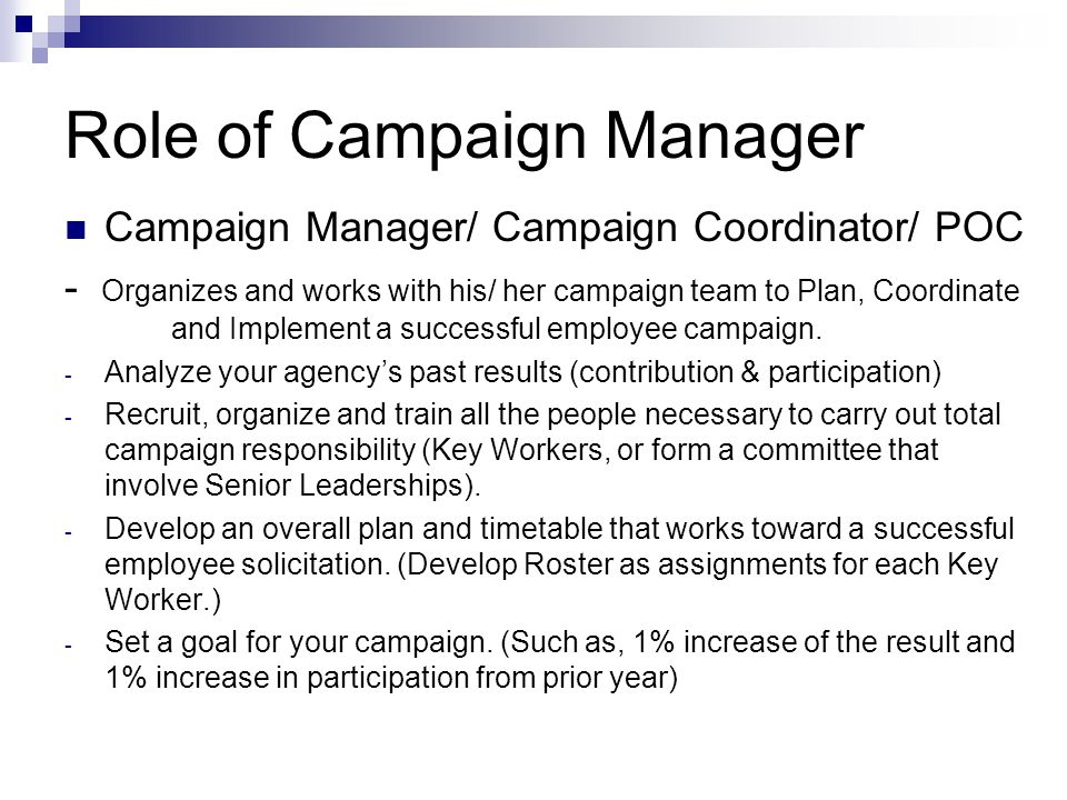 Role of Campaign Manager Campaign Manager/ Campaign Coordinator/ POC - Organizes and works with his/ her campaign team to Plan, Coordinate and Implement a successful employee campaign.