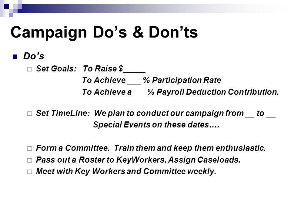 Campaign Do's & Don'ts Do's  Set Goals: To Raise $_____ To Achieve ___ % Participation Rate To Achieve a ___% Payroll Deduction Contribution.