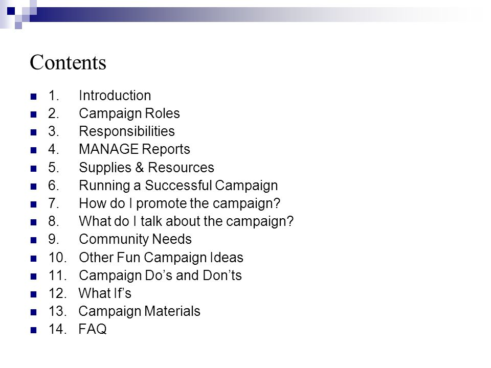 Contents 1.Introduction 2.Campaign Roles 3.
