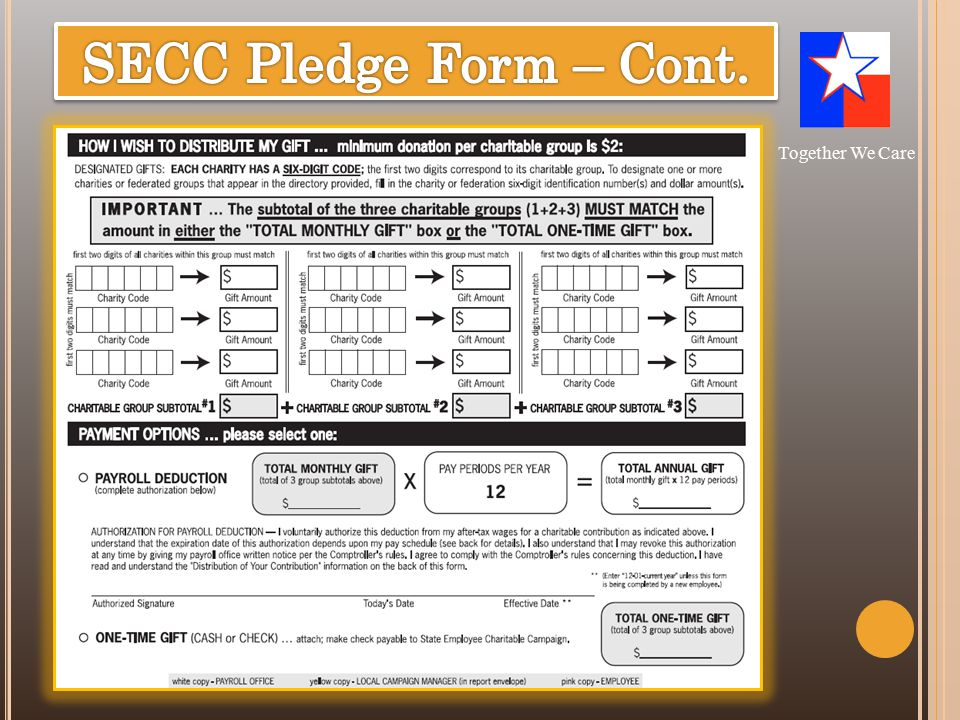 SECC Resource—Pledge form-front (cont.) Together We Care