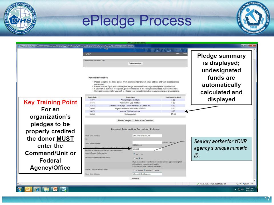 17 ePledge Process Pledge summary is displayed; undesignated funds are automatically calculated and displayed Key Training Point For an organization's pledges to be properly credited the donor MUST enter the Command/Unit or Federal Agency/Office See key worker for YOUR agency's unique numeric ID.