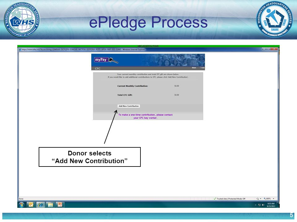 5 ePledge Process Donor selects Add New Contribution