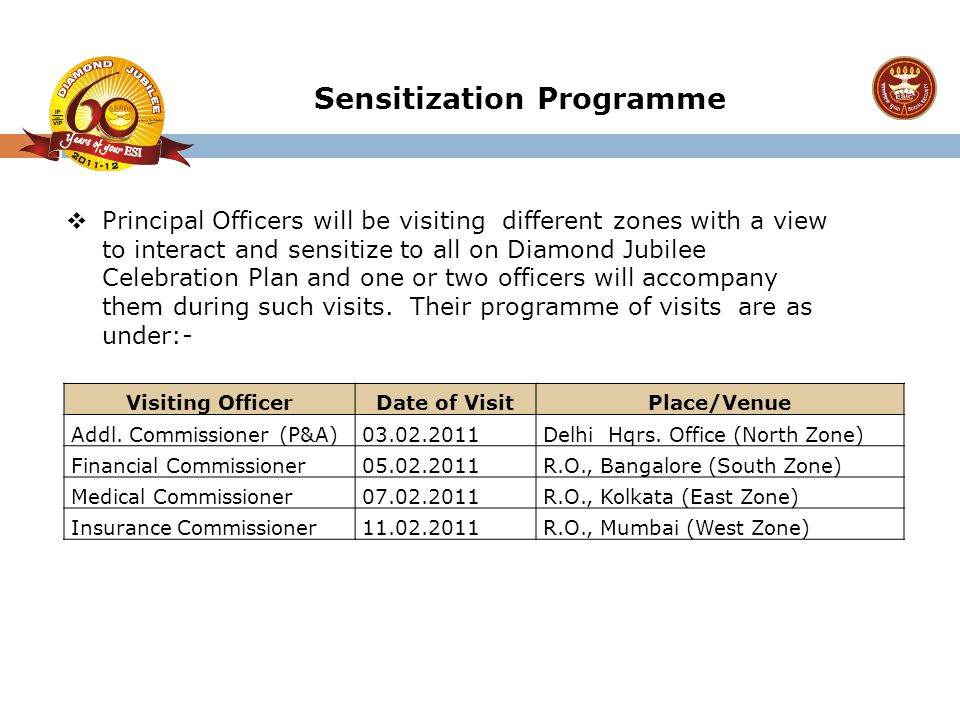  Principal Officers will be visiting different zones with a view to interact and sensitize to all on Diamond Jubilee Celebration Plan and one or two