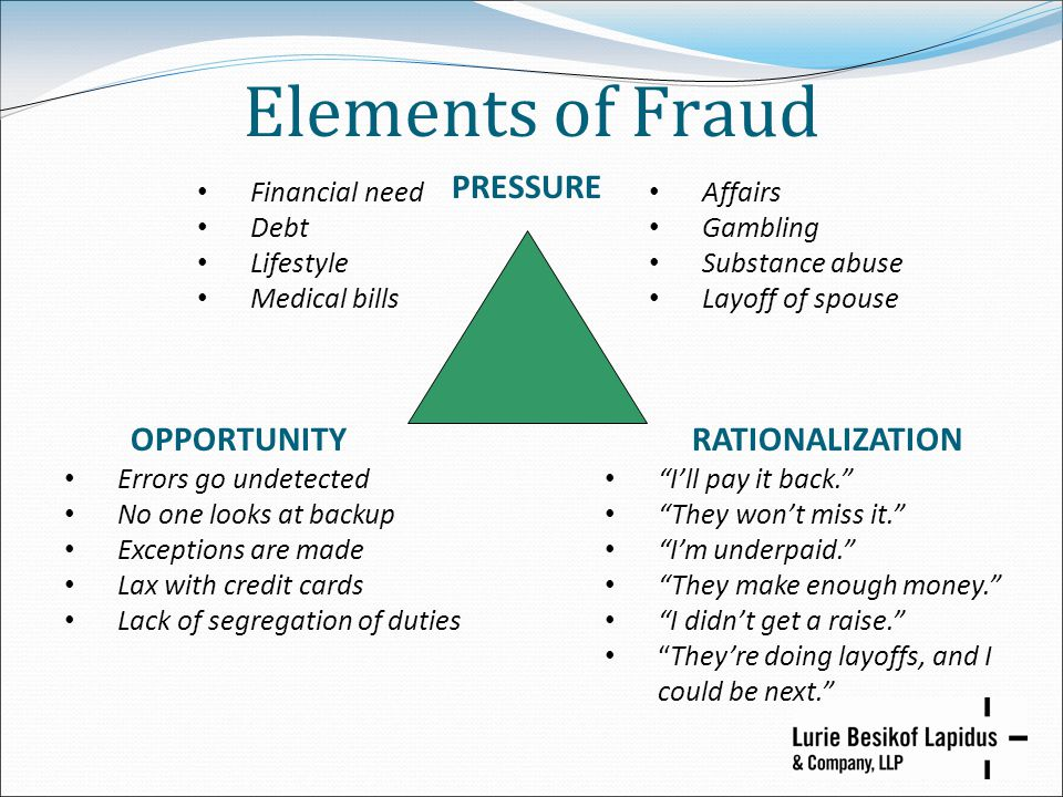 Elements of Fraud PRESSURE RATIONALIZATION I'll pay it back. They won't miss it. I'm underpaid. They make enough money. I didn't get a raise. They're doing layoffs, and I could be next. OPPORTUNITY Errors go undetected No one looks at backup Exceptions are made Lax with credit cards Lack of segregation of duties Affairs Gambling Substance abuse Layoff of spouse Financial need Debt Lifestyle Medical bills