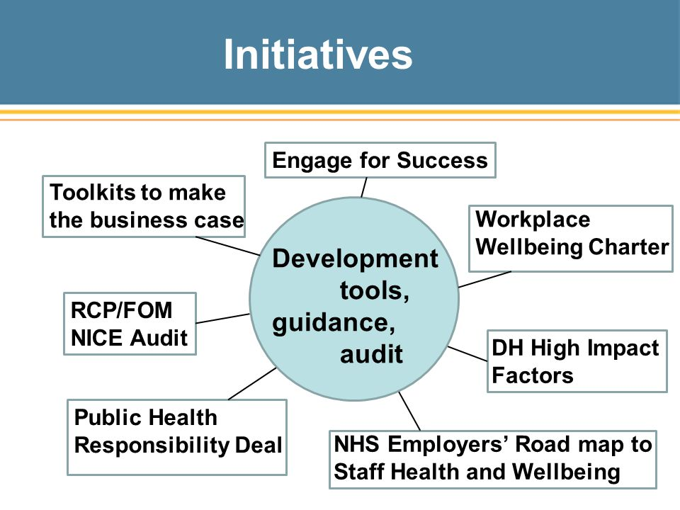 Initiatives Development tools, guidance, audit Engage for Success Toolkits to make the business case RCP/FOM NICE Audit Public Health Responsibility Deal NHS Employers' Road map to Staff Health and Wellbeing Workplace Wellbeing Charter DH High Impact Factors