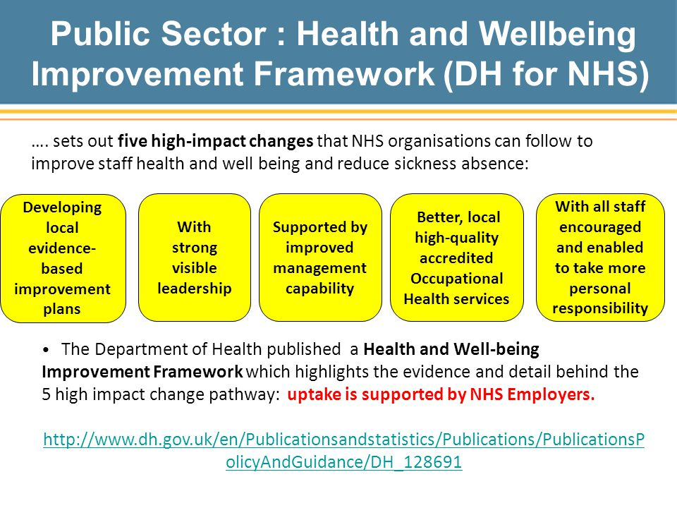 Public Sector : Health and Wellbeing Improvement Framework (DH for NHS) With strong visible leadership Supported by improved management capability With all staff encouraged and enabled to take more personal responsibility Better, local high-quality accredited Occupational Health services Developing local evidence- based improvement plans The Department of Health published a Health and Well-being Improvement Framework which highlights the evidence and detail behind the 5 high impact change pathway: uptake is supported by NHS Employers.