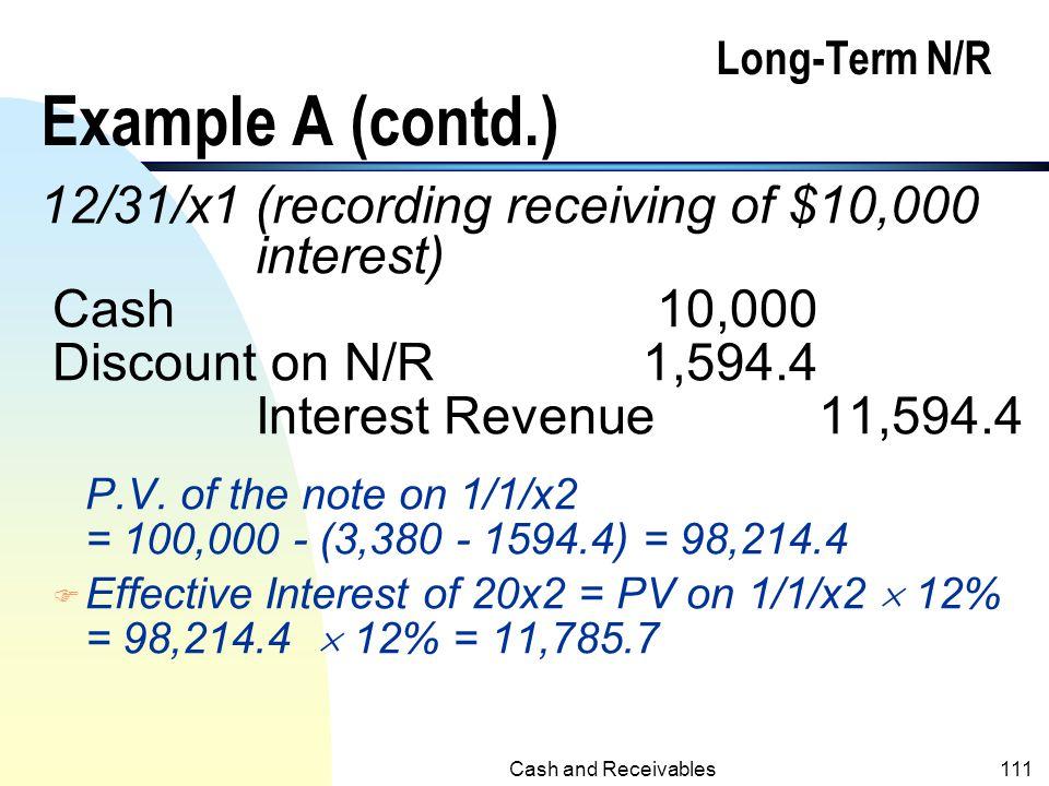 Cash and Receivables110 Long-Term N/R Example A (contd.) 1/1/x1 Notes Receivable100,000 Sales Revenue96,620 Discounts on N/R3,380 F Effective Interest