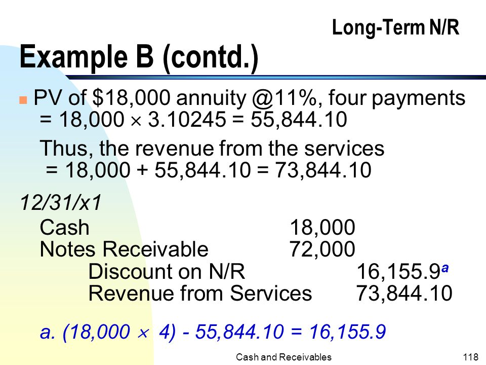Cash and Receivables117 Long-Term N/R Example B (skip p114-121) n On 12/31/x1 La Tourette Inc. rendered services to Husky Corp. at an agreed price of