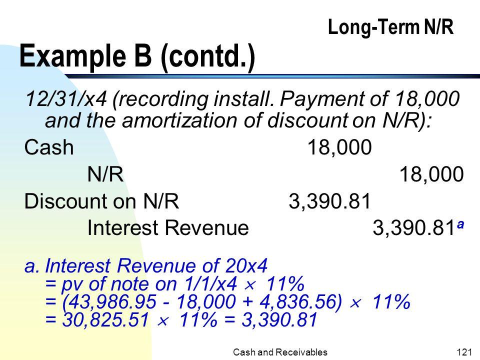 Cash and Receivables120 Long-Term N/R Example B (contd.) 12/31/x3 Cash18,000 N/R18,000 Discount on N/R4,838.56 Interest Revenue4,838.56 a a.Interest R