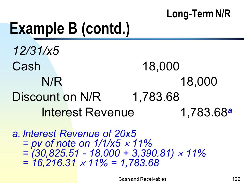 Cash and Receivables121 Long-Term N/R Example B (contd.) 12/31/x4 (recording install. Payment of 18,000 and the amortization of discount on N/R): Cash