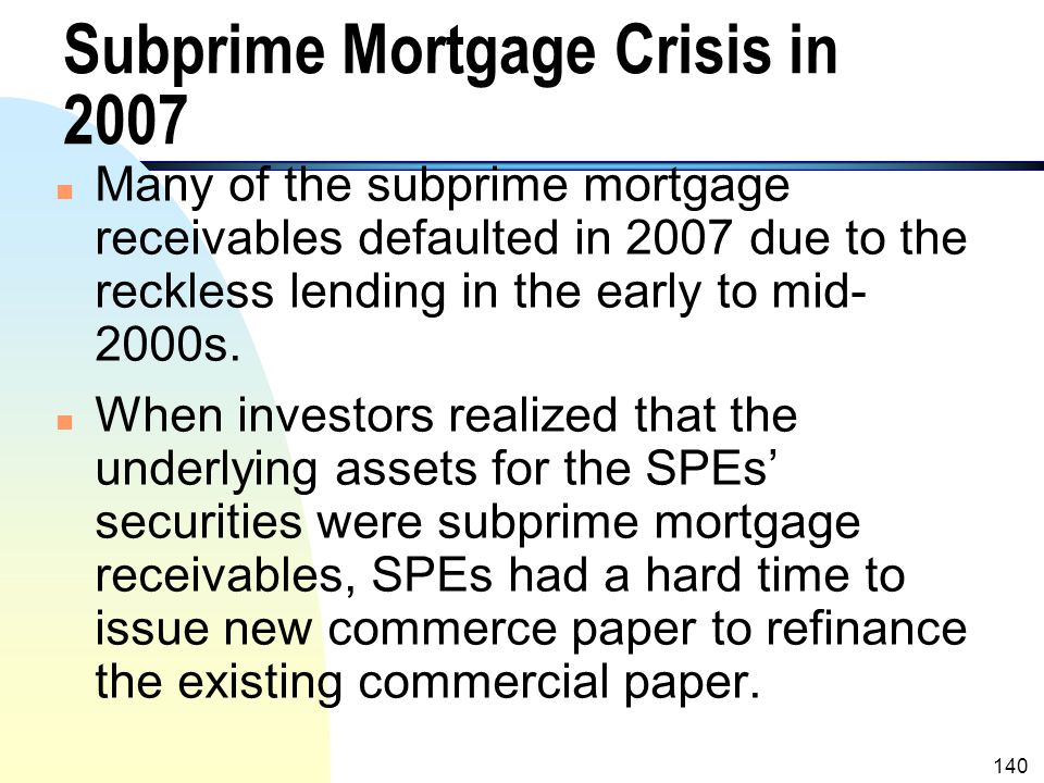 139 Off Balance Sheet (B/S) Financing (contd.) n With a qualifying SPE, the transferor obtain an off-balance sheet financing. n Problems Associated wi