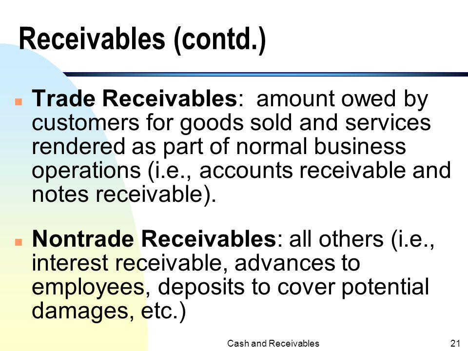 Cash and Receivables20 III.Receivables n Receivables: claims held against customers and others for money, goods or services. n Current Receivables: ex