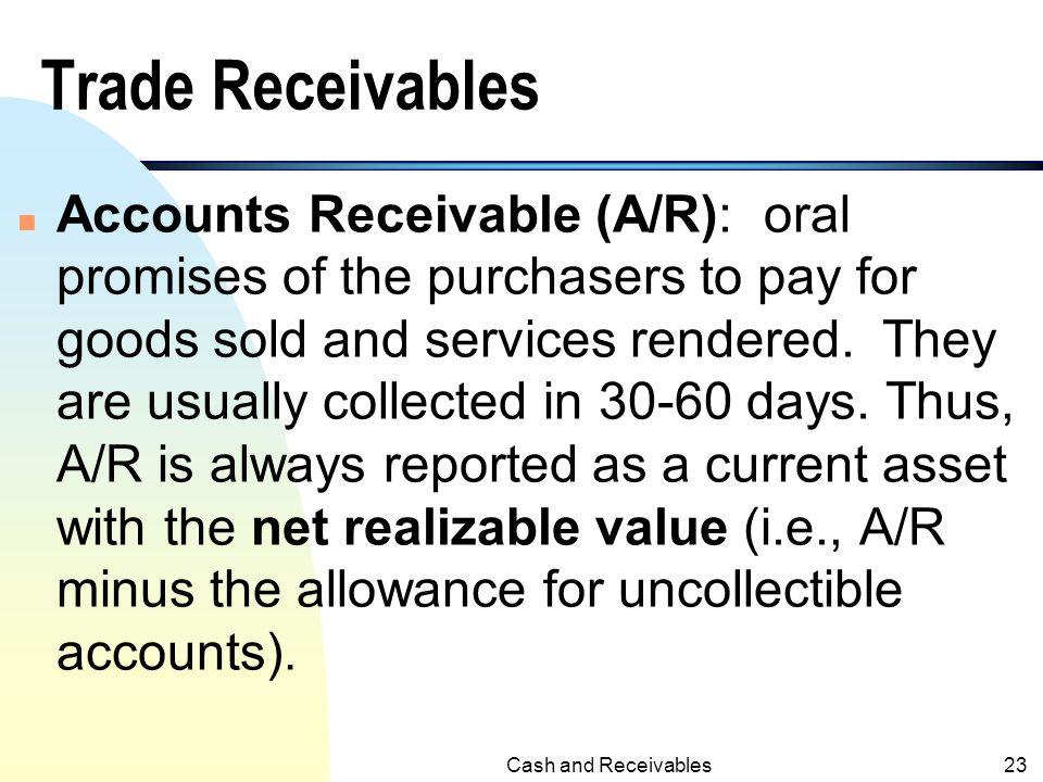 Balance Sheet Presentation of Receivables ( Illustration 7-3, KWW, 14 th e) Cash and Receivables22