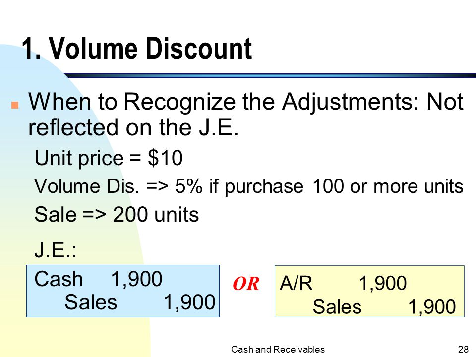 Cash and Receivables27 Adjustments Related to Sales 1. Volume Dis. (Trade Discounts) 2. Cash Discounts (Sales Discounts) 3. Sales Returns and Allowanc