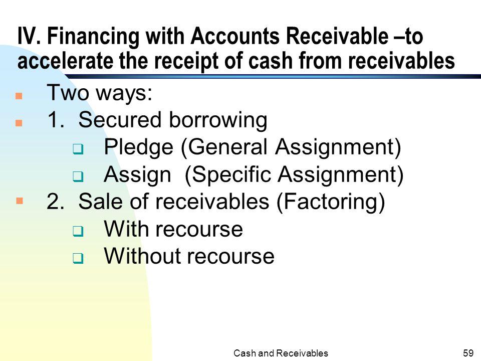 Cash and Receivables58 Example B (contd.) 2/1/x2Cash322.83 A/R304.30 Interest Revenue18.53 1 5/1/x2Cash322.83 A/R313.43 Interest Revenue9.40 2 1. (1,2