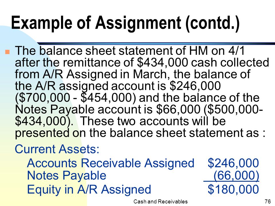 Cash and Receivables75 Accounts Receivable are Not Transferred to A/R Assigned (cont.)