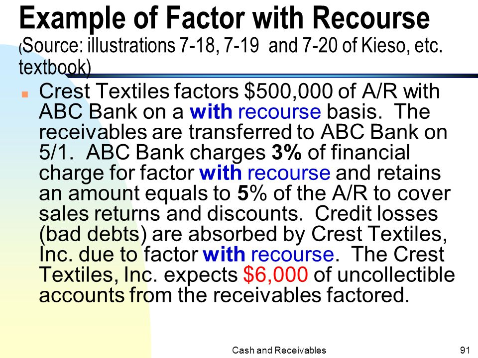 """Cash and Receivables90 Factor with Recourse (Contd.)  A recourse is an example of """"continuing involvement"""" in a transfer of receivables  In the case"""