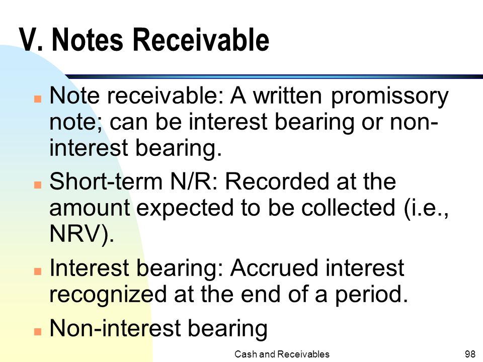 Cash and Receivables97 The Profits of the Buyer (Transferee)under Factor With Recourse n Unlike factor without recourse, the profits for the buyer in