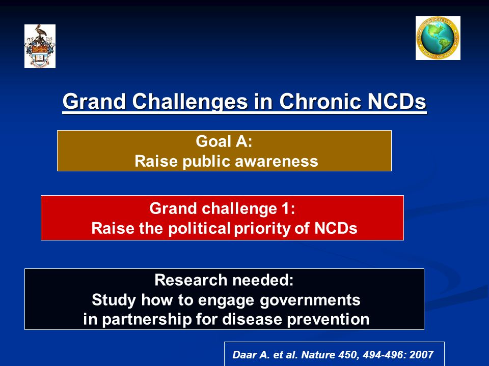 Grand Challenges in Chronic NCDs Goal A: Raise public awareness Grand challenge 1: Raise the political priority of NCDs Research needed: Study how to engage governments in partnership for disease prevention Daar A.