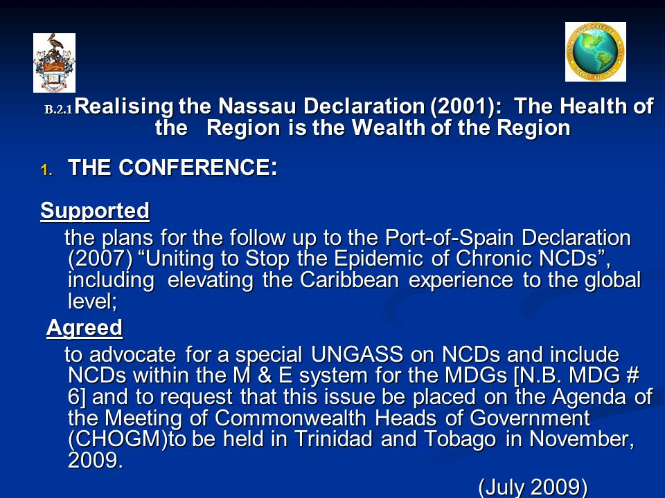 B.2.1 Realising the Nassau Declaration (2001): The Health of the Region is the Wealth of the Region 1.