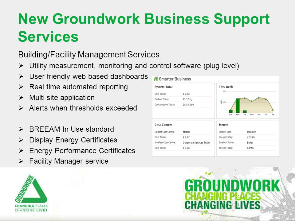 New Groundwork Business Support Services Building/Facility Management Services:  Utility measurement, monitoring and control software (plug level)  User friendly web based dashboards  Real time automated reporting  Multi site application  Alerts when thresholds exceeded  BREEAM In Use standard  Display Energy Certificates  Energy Performance Certificates  Facility Manager service
