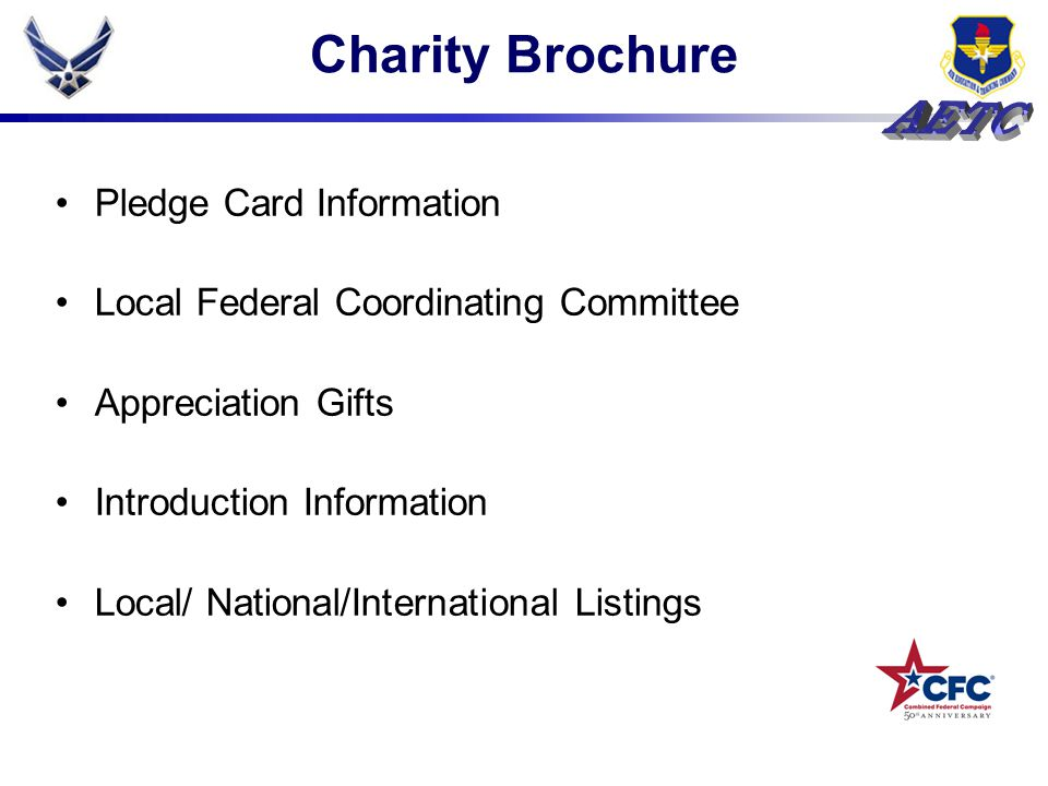 Charity Brochure Pledge Card Information Local Federal Coordinating Committee Appreciation Gifts Introduction Information Local/ National/Internationa