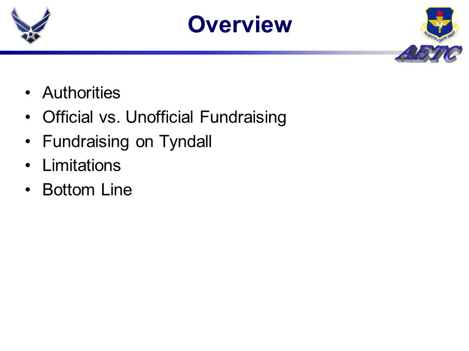Overview Authorities Official vs. Unofficial Fundraising Fundraising on Tyndall Limitations Bottom Line