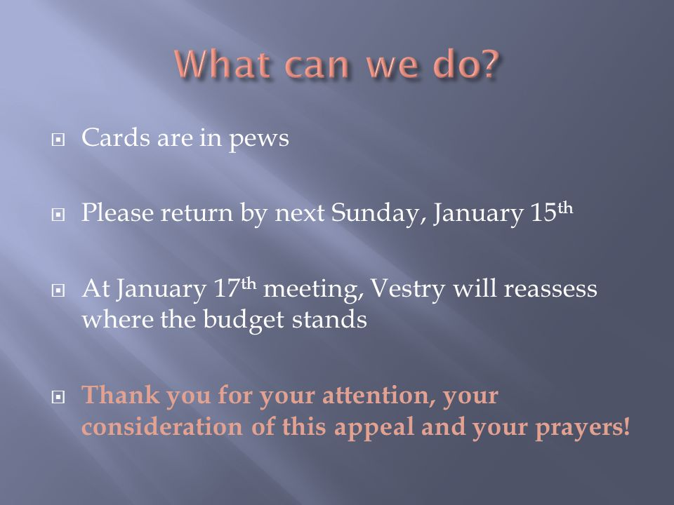  Cards are in pews  Please return by next Sunday, January 15 th  At January 17 th meeting, Vestry will reassess where the budget stands  Thank you for your attention, your consideration of this appeal and your prayers!
