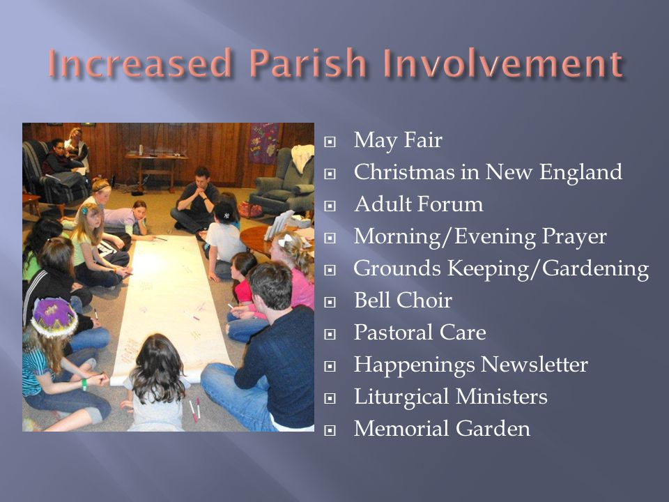  May Fair  Christmas in New England  Adult Forum  Morning/Evening Prayer  Grounds Keeping/Gardening  Bell Choir  Pastoral Care  Happenings Newsletter  Liturgical Ministers  Memorial Garden