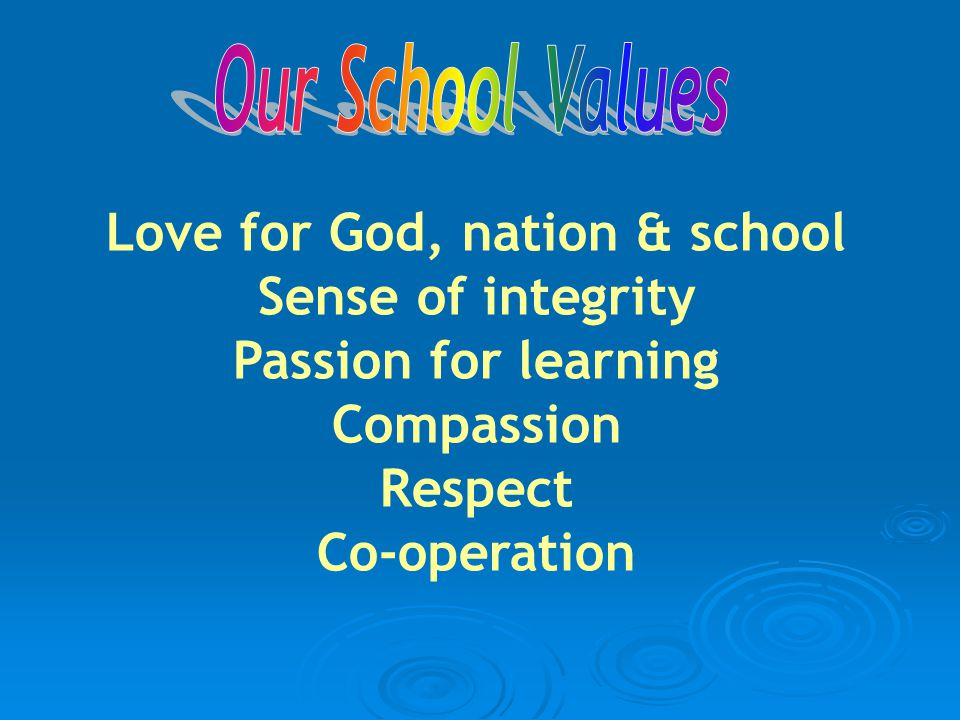 Love for God, nation & school Sense of integrity Passion for learning Compassion Respect Co-operation