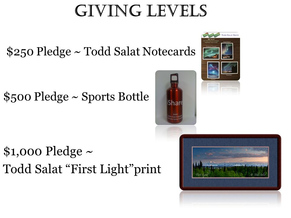 Giving Levels $ 250 Pledge ~ Todd Salat Notecards $ 500 Pledge ~ Sports Bottle $1,000 Pledge ~ Todd Salat First Light print