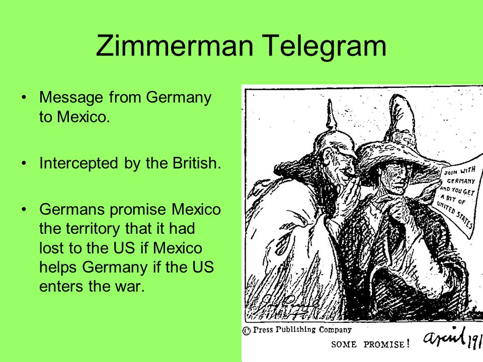 Zimmerman Telegram Message from Germany to Mexico.