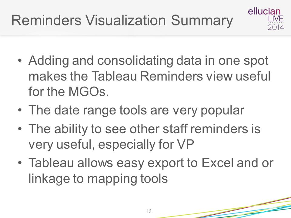 Reminders Visualization Summary Adding and consolidating data in one spot makes the Tableau Reminders view useful for the MGOs.