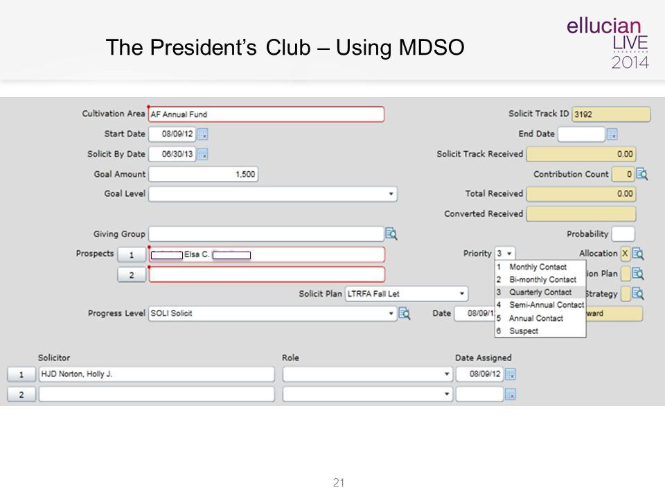 21 The President's Club – Using MDSO