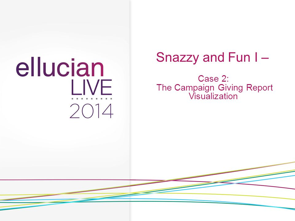 Snazzy and Fun I – Case 2: The Campaign Giving Report Visualization