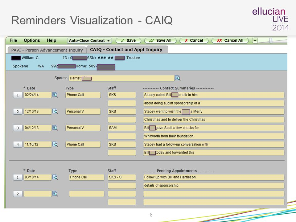 Reminders Visualization - CAIQ 8