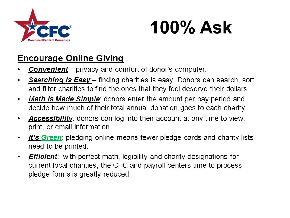 100% Ask Encourage Online Giving Convenient – privacy and comfort of donor's computer.