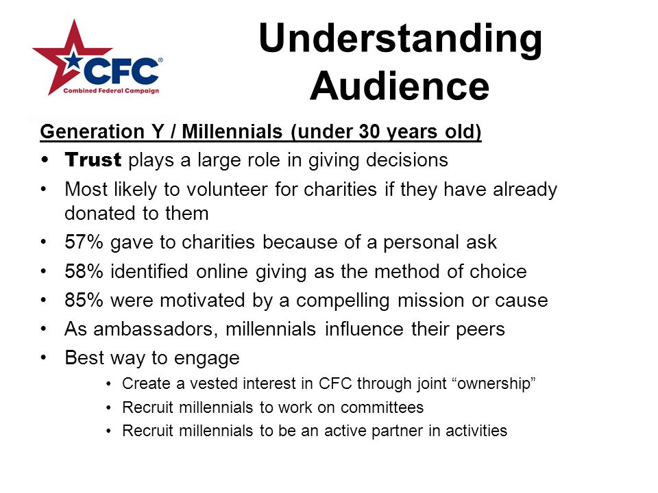 Understanding Audience Generation Y / Millennials (under 30 years old) Trust plays a large role in giving decisions Most likely to volunteer for charities if they have already donated to them 57% gave to charities because of a personal ask 58% identified online giving as the method of choice 85% were motivated by a compelling mission or cause As ambassadors, millennials influence their peers Best way to engage Create a vested interest in CFC through joint ownership Recruit millennials to work on committees Recruit millennials to be an active partner in activities